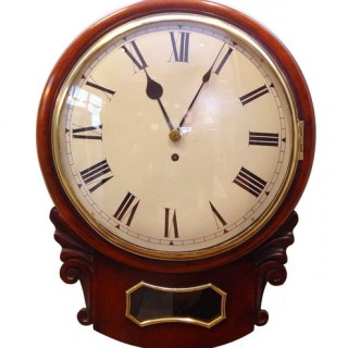 Mahogany drop dial fusee wall clock