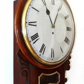 Mahogany drop dial fusee wall clock