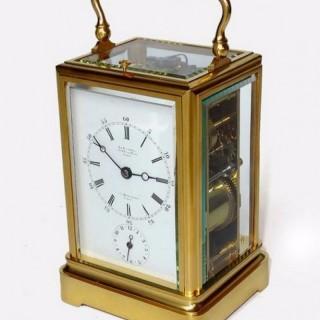 Le Roy & Drocourt One piece Strike repeat Alarm Carriage Clock