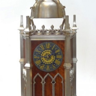 Rare French Striking Table Clock in a Gothic styled case