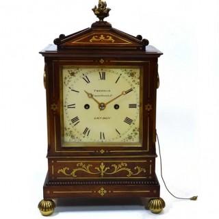 Rosewood & brass inlaid bracket clock by Frodsham