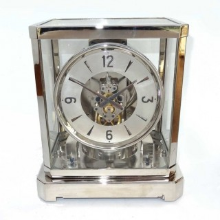 Rhodium plated Atmos clock by Jaeger leCoultre
