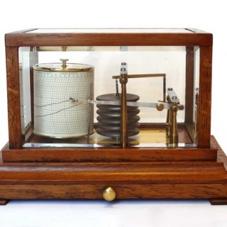 Antique small oak Barograph