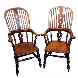 Antique Pair Of Yew Broadarm Windsor Chairs