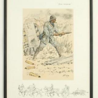 Vintage Snaffles WWI Military Print, Bon Voyage