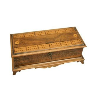 Antique Game Box with Cribbage Board.