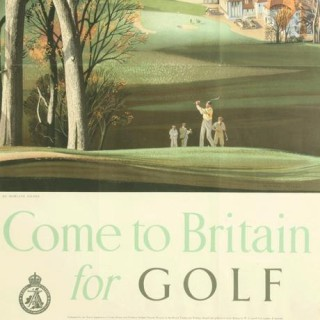 Vintage Golfing Travel Poster, 'Come to Britain for Golf' by Roland Hilder.