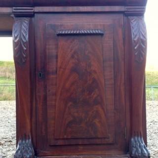 Large Flame Mahogany Pedestal Sideboard