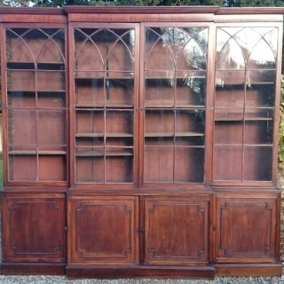 Large George III Period Mahogany Breakfront Bookcase