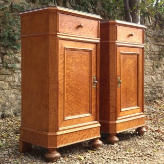 Pair of Antique Bedside Cupboards With Marble Tops