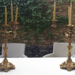 Pair of Antique French Baroque Ormulu Candelabra