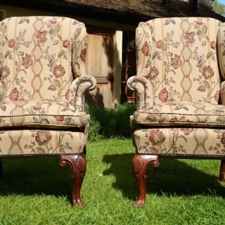 Pair of Walnut Antique Wing Chairs in the Queen Anne Manner
