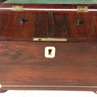 Rosewood Casket Shape Tea Caddy