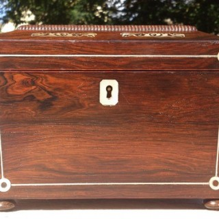 Rosewood Casket Shape Tea Caddy
