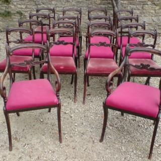 Set of 18 Regency Antique Dining Chairs