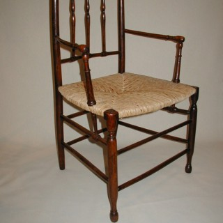 Set of 6 Antique Yew Wood Dining Chairs