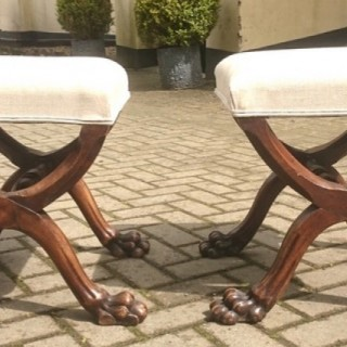 Unusually Fine Quality Pair of Antique Stools