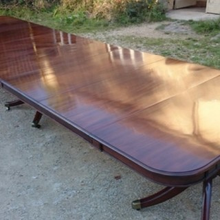 Unusually Large And Imposing Three Pedestal Antique Dining Table