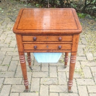 Very Rare Regency Work Box / Sewing Table Made Of Oak And Rosewood