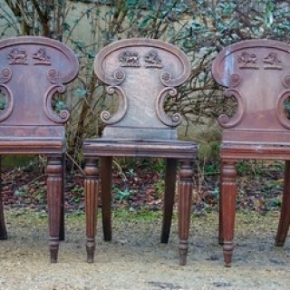 Set of Five Early Nineteenth Century Hall Chairs