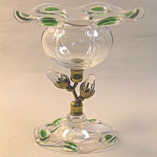 A crystal glass vase with 'peacock' eyes, Stuart for Liberty