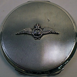A silver Battle of Britain period sweetheart powder compact