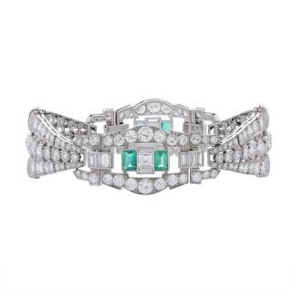 Emerald Diamond Platinum Link Bracelet