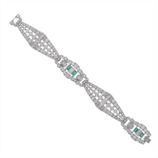 Emerald Diamond Platinum Link Bracelet