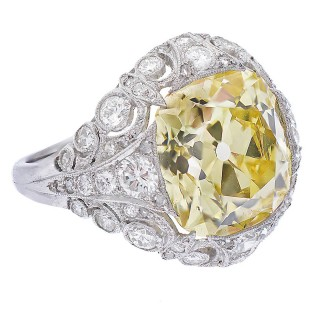 A. Tillander GIA Cert Fine Fancy Intense Yellow Diamond Cocktail Ring