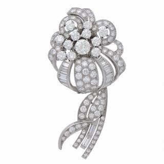 Diamond Platinum Flower Bouquet Brooch