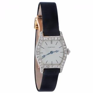 Cartier Lady's Platinum Diamond Wristwatch
