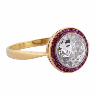 Belle Epoque Diamond and Ruby Engagement Ring