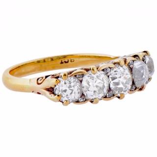 Victorian Diamond Gold Five Stone Ring