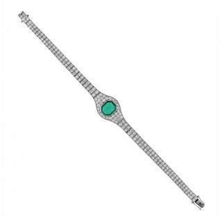 2.2 Carat Colombian Emerald Diamond Platinum Bracelet