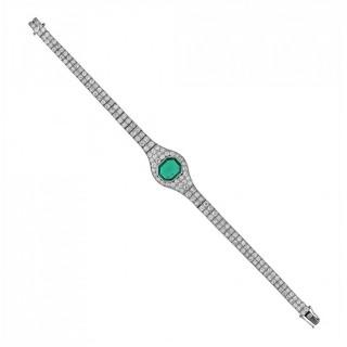 2.2 Carat Colombian Emerald Diamond Platinum Bracelet