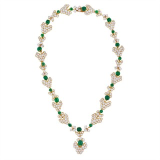 M. Gerard Paris Important Emerald Diamond Gold Demi-Parure