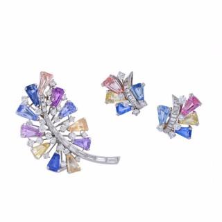 Oscar Heyman & Brothers Sapphire Diamond Platinum Demi-Parure