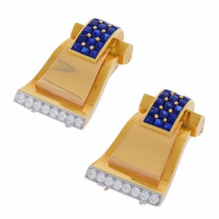 Cartier Retro Diamond Sapphire Gold Clip Pins