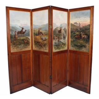19th Century Oak Four Fold Screen
