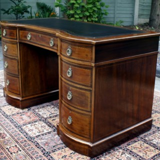 Antique Edwardian Inlaid Mahogany Pedestal Desk