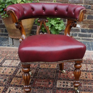 Antique Walnut and Hide Desk Chair