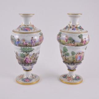 Pair of Ginori low-relief vases