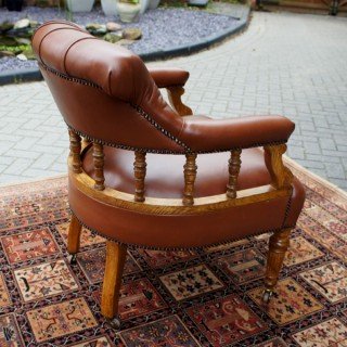 Antique Oak and Hide Desk Chair or Library Chair