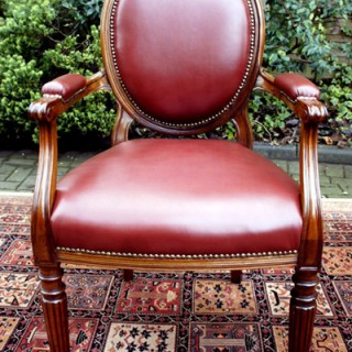 Antique Mahogany and Hide Desk Chair