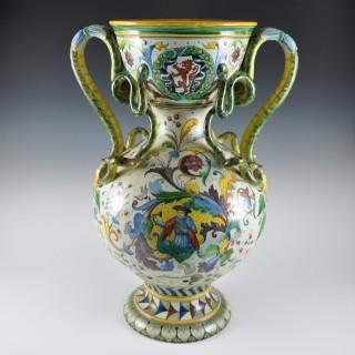 Large majolica Ulisse Cantagalli vase