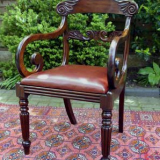 Antique William 1V Mahogany Open Armchair