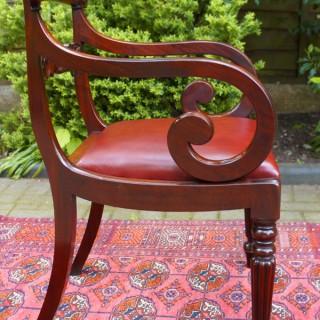 Antique William 1V Mahogany Open Armchair