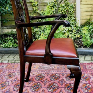 Antique Mahogany Desk Chair or Open Armchair