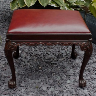 Antique Mahogany and Hide Stool in George 111 Style