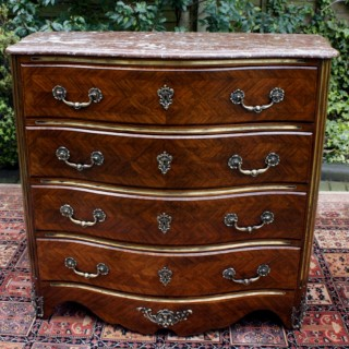 Antique French Serpentine Kingwood Commode / Chest of Drawers